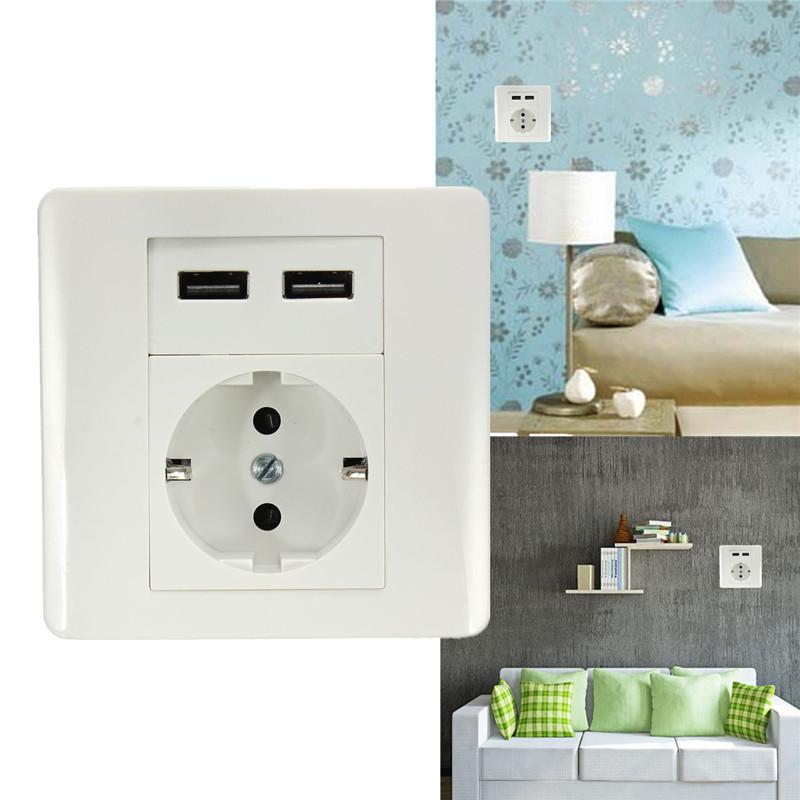 EU-Plug-2-1A-Home-Wall-Socket-Dual-USB-Port-Socket-Electric-Shock-Protection-font-b